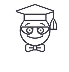 Nerdy student emoji concept line editable vector