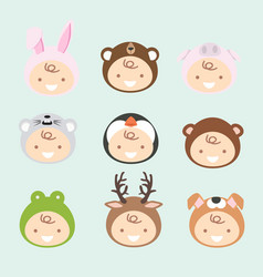 new born babies in cute animals costumes vector image