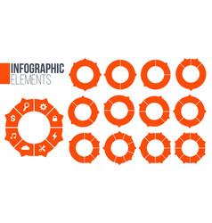 orange set circle chart infographic templates vector image