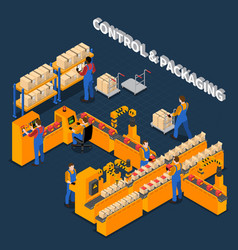 Packaging factory isometric composition vector
