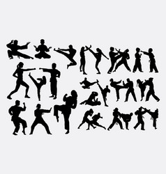 people fighting duel martial art silhouettes vector image