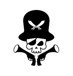 pirate skull logo head of skeleton and gun pirate vector image