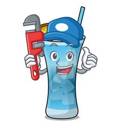 Plumber blue hawaii mascot cartoon vector
