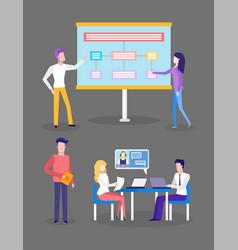 presentation preparation brainstorming of people vector image