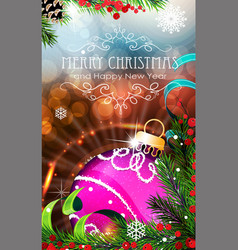 purple christmas bauble with sparkles and fir vector image