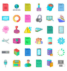 Raw file icons set cartoon style vector