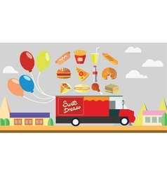 Red wagon fast food with baloons vector
