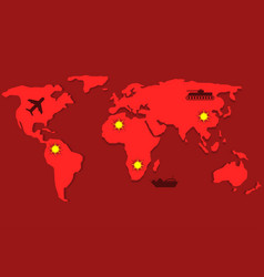 Red world map vector