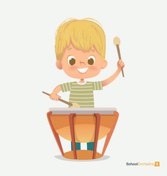 School orchestra smile boy play beats drum sticks vector