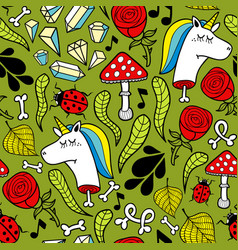 Seamless background with dead unicorns and nature vector