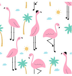 seamless trendy tropical pattern pink flamingo vector image