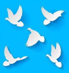 Set doves vector image