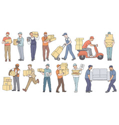 set male workers from different delivery and vector image