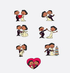 set of chic and romantic black characters bride vector image