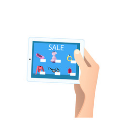 Shopping online concept tablet in hands vector