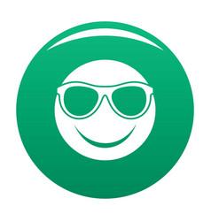 Smile icon green vector