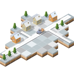 snowy village vector image