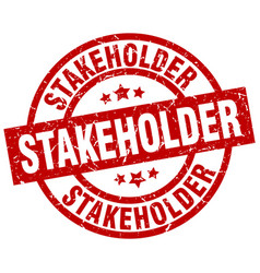 stakeholder round red grunge stamp vector image