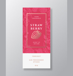Strawberry home fragrance abstract label vector