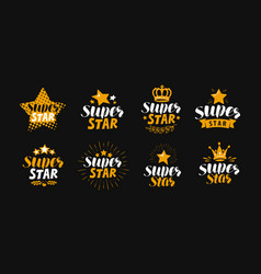 super star set of labels or logo lettering vector image