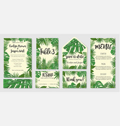Template cards set with watercolor palm leaves vector