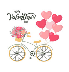 Valentines day background bicycle with heart vector