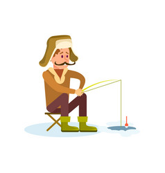 winter fishing icon with fisherman vector image