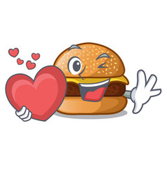 With heart cheese burger located on plate cartoon vector