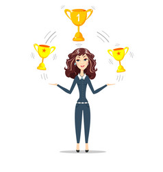 woman holding gold trophy goblet vector image