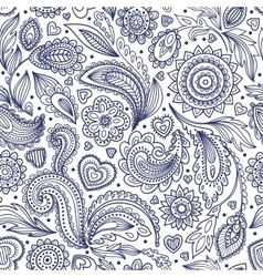 Beautiful floral paisley seamless vector image vector image