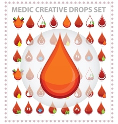 medic creative blood drops symbols and sign vector image