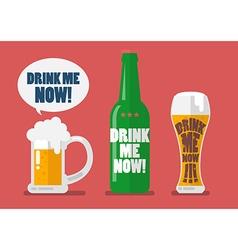 Set of beer drink me now vector image vector image