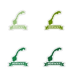 Set of paper stickers on white background Norway vector image vector image