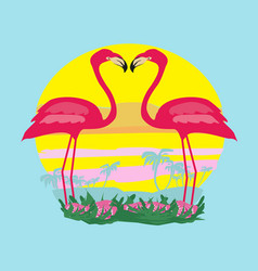 sunset and pink flamingos vector image