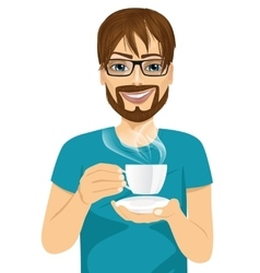young man drinking hot coffee or tea vector image