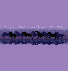 background with dark horses galloping in the night vector image