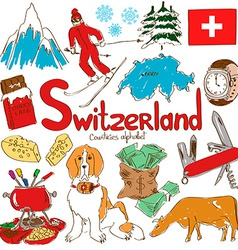 Collection of Switzerland icons vector image