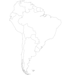 Contour South America map vector image vector image