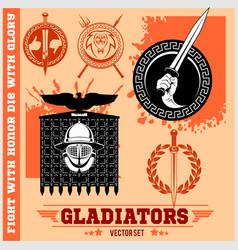 gladiator logos templates design vector image vector image