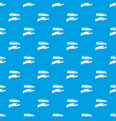 Hand and car pattern seamless blue vector