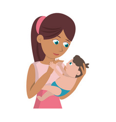 mom carrying little baby vector image