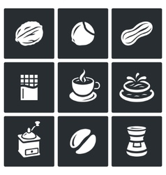 Set of Nuts Chocolate and Coffee Icons vector image vector image