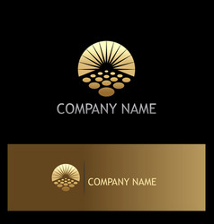 sun solar horizon gold logo vector image vector image