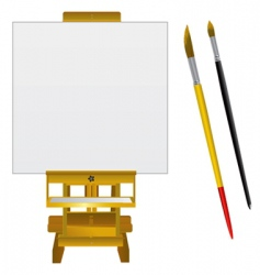 canvas art board and brushes vector image