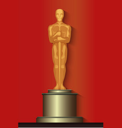 Golden oscar film award statuette isolated vector image