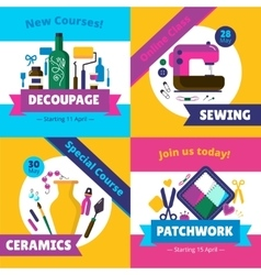 Hobby workshop courses 4 flat icons vector