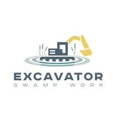 Logo amphibious excavator for wetland work vector