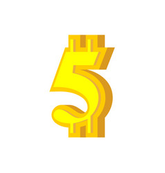5 numeral bitcoin font five numeric crypto vector image