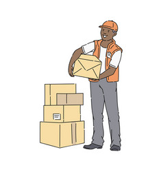 african man in cap and vest stands holding box at vector image