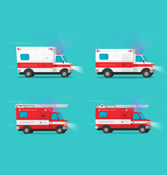 Ambulance and firetruck emergency cars or fire vector